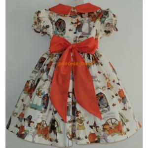 NEW Handmade Thanksgiving Pumpkin Harvest Dress Deluxe Custom Sz 12M-14Yrs