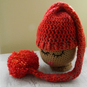 Crocheted Baby Elf Stocking Hat with Pompom - Newborn - 9 MO Photo Prop