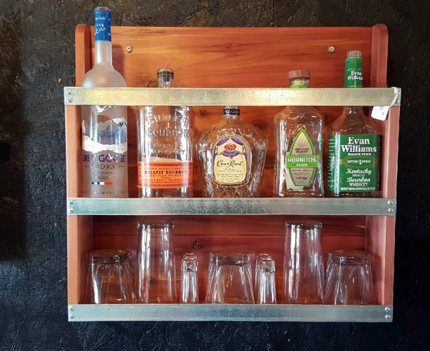 Liquor Cabinet Mini Bar Handcrafted Cabinet Rustic