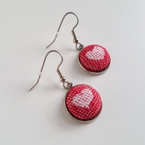 Heart Earrings, Valentine's Day Gift, Wrap Scrap Jewelry, Kokadi Love, Red and White