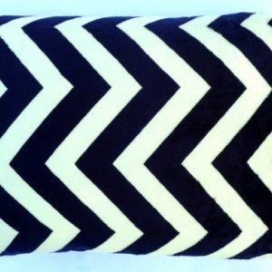 Toddler Child Minky Pillowcase - Navy Blue and Creamy White Chevron Minky with Coral and Gray Diamond Cotton Cuff - Chevron Pillow Cover