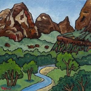 """Square Landscape #26"" original painting"
