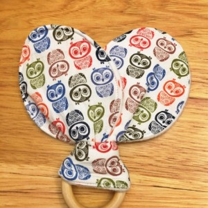Bunny Ear Owl Teething Ring, Wooden Teether, Teething Toy
