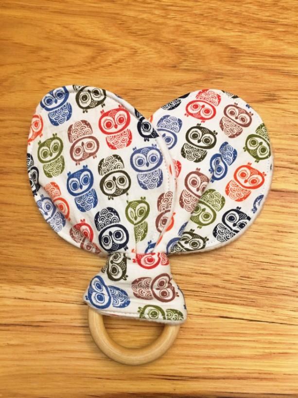 Bunny Ear Owl Teething Ring, Wooden Teether, Teething Toy