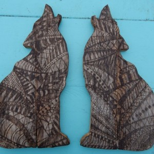 Wood Burned Pallet Coyote- Tribal Patterned Pallet Wood Howling Wolf
