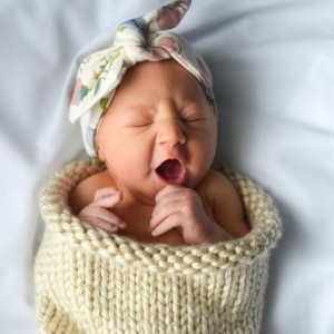 Hand Knitted Baby Cocoon - Heather Brown