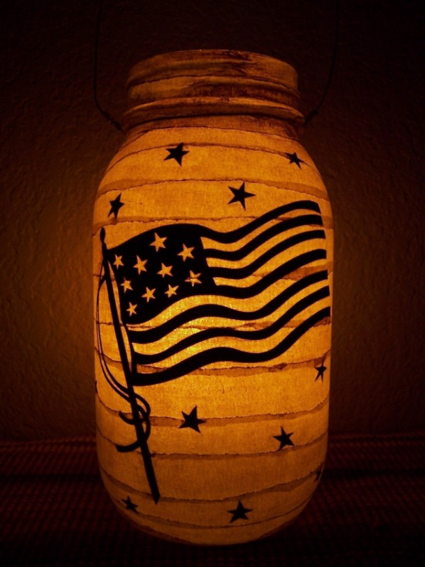 Primitive Patriotic USA Flag Lantern Candle Holder