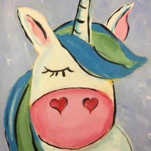 White Unicorn Acrylic Painting on Canvas - free shipping