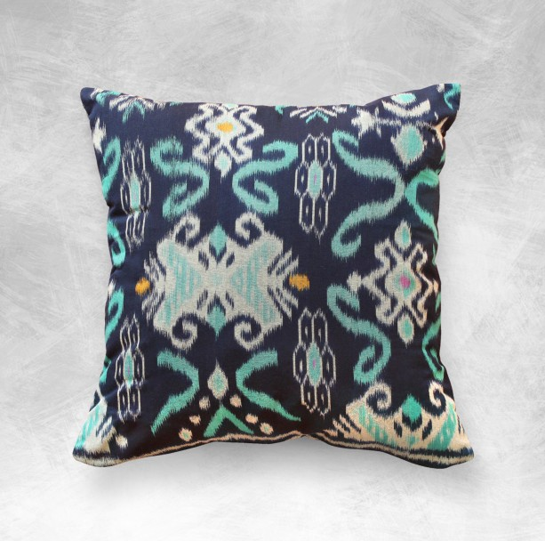 "Handwoven ""Karma Tosca"" Decorative Traditional Ikat 18 x 18 inches Pillow Cushion from Bali"