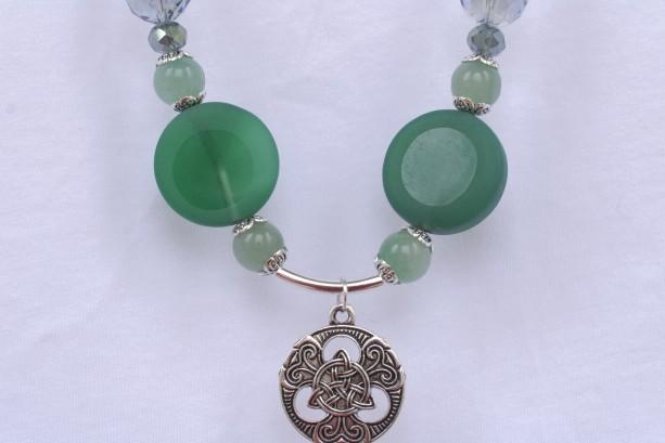 Triquetra Pendant Necklace, Green Aventurine, Dara Knot, Celtic, Half Matte Green Agate, Crystal, Faceted Disco, Blue-Green, Metallic Green