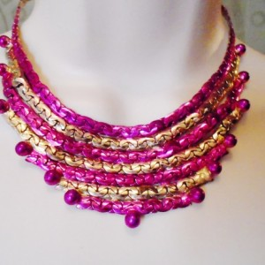 Gold Fuchisa Hand Painted Vintage Necklace Choker