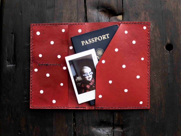 Passport Holder, Custom Leather Passport Cover, Bridesmaid Gift (Red Color)
