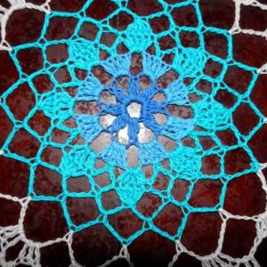 "Stunning Real Handmade Crochet Doily, Blue,Round, 30"", ""Daisy Meadow"", Cotton100%. USA FREE shipping"