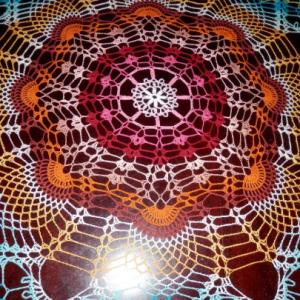 "Stunning Handmade Crochet Tablecloth Doily, 46"", ""Rainbow Peacock Tail"", Cotton 100%, USA FREE shipping"