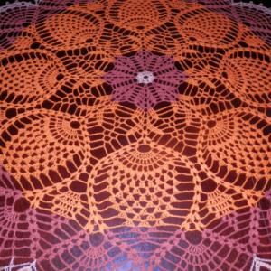 "Stunner Real Handmade Crochet Tablecloth-Doily,ORANGE, Round, 35.5"", 100% Cotton"
