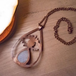 Moonstone Tear Drop Copper Brass Eye Pendant Amulet Necklace Handmade