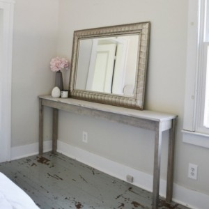 The Mari - Distressed Gray Long Pine Wood Sofa Table