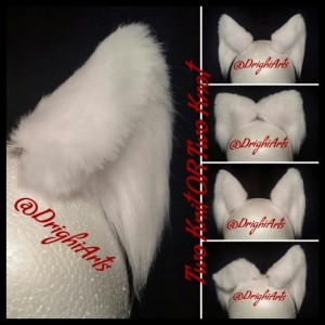 "3"" White Cat Ears"