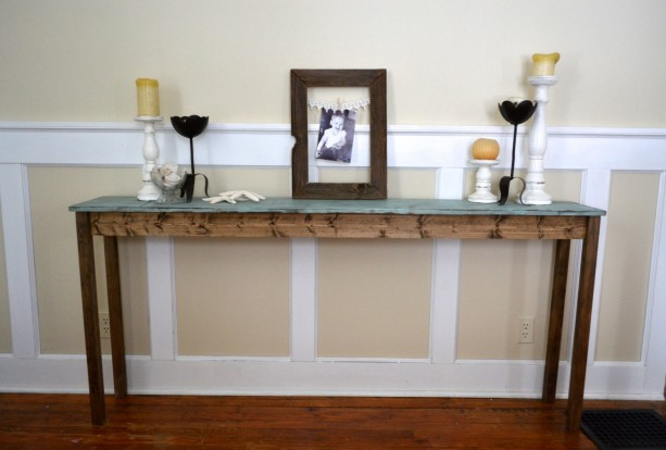 The Shannon - Distressed Blue Long Pine Sofa Table