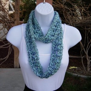 Small Summer Infinity SCARF, Light Blue, Dark Blue, Light Gray Grey, Soft Crochet Knit, Skinny Narrow Lightweight Cowl, Ready to Ship in 2 Days