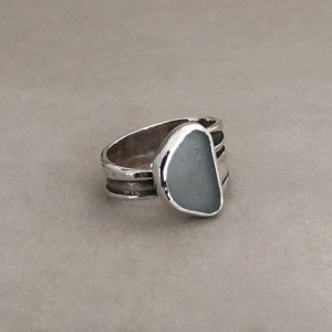 Size 8 1/2 Gray Sea Glass Ring