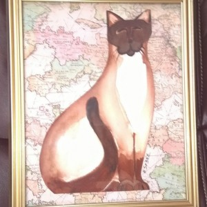 Cat Watercolor Painting - SITTING SIAMESE CAT - 9 x 12 inch framed collage - abstract cat art - Cat Lovers Gift - folk art - Rescue Cat