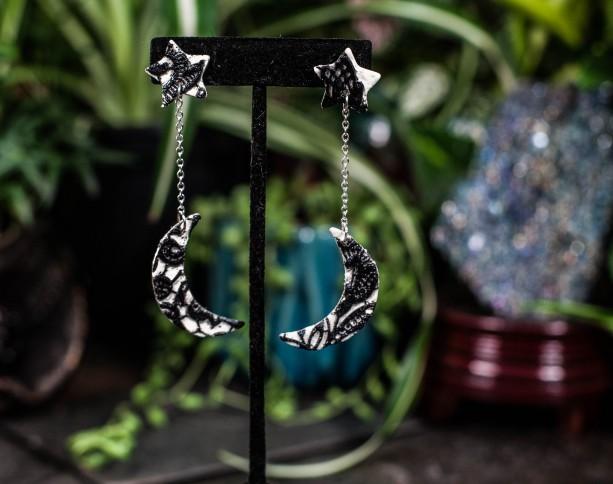 Polymer clay lace star & moon dangle earrings