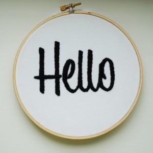 Hello Hand Embroidered Art, Embroidery Hoop Art, Hello Sign, Hello Wall Art, New Home Gift, New Home Art, Hello Art, Typography Art