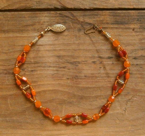 Orange beaded anklet