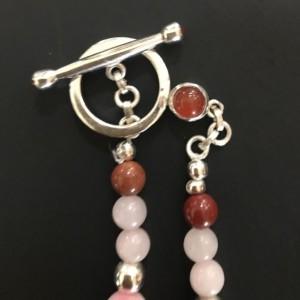 Natural Unakite,Rose Quartz,Red Jasper,Silver Plated Necklace