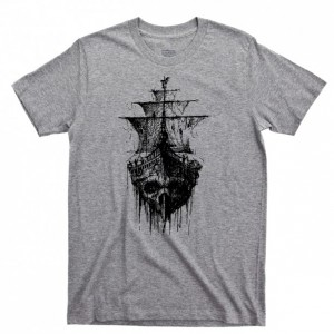 Pirate Skull Ghost Ship Men's T Shirt, Skull & Crossbones Jolly Roger Tattoo Sailing Oceans Seas Unisex Cotton Tee Shirt