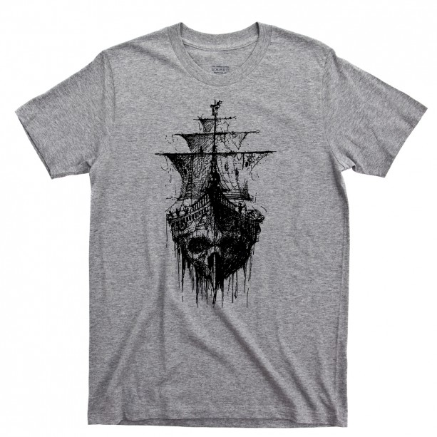 Pirate Skull Ghost Ship Men's T Shirt, Skull & Crossbones Jolly Roger Tattoo Sailing Oceans Seas Unisex Cotton Tee Shirt