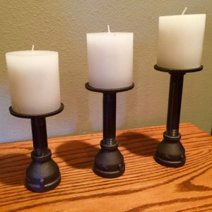 Candlestick Holders industrial Black Iron Pipe, 3 different sizes included