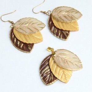 Brown and Gold leaf - Polymer Clay