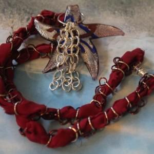 Silver Foil Red Blue Glass Swirl Star Silver Oblong Link Tassel Red Silk Ribbon Necklace
