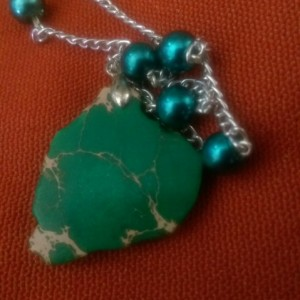 Teal and Green Stone Necklace