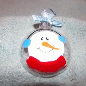 snowman christmas ornament, clear glass, handpainted