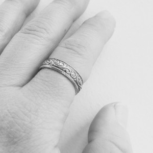 Patterned Sterling silver band cuff ring, cuff ring, etched ring, silver bands, unisex rings