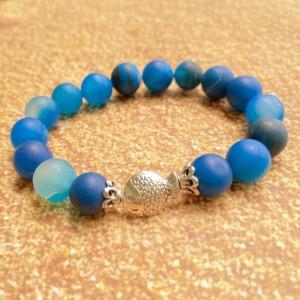 Blue Agate Fish Bracelet