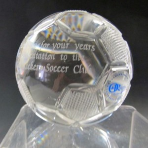 Hand cut glass soccer ball award