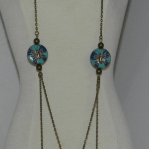 Cloisonné Butterfly Disks Antique Bronze set  A12419