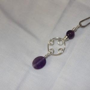 Amethyst Pendant, Amethyst Necklace, Wire Wrapped Pendant, February Birthstone Pendant, Crown Chakra, Third Eye Chakra, Zodiac Necklace