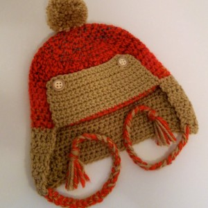 Crocheted Winter Trapper Eskimo Earflap Hat for Babies and Toddlers