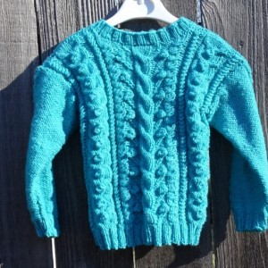 Hand Knitted Sweater, Winter  Knitted Sweater for Girl 2-3 Yrs, Light Turquoise Knit Pullover, Ready To Ship, All Handmade