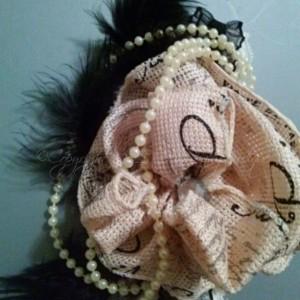 Burlap Vintage Print Headband