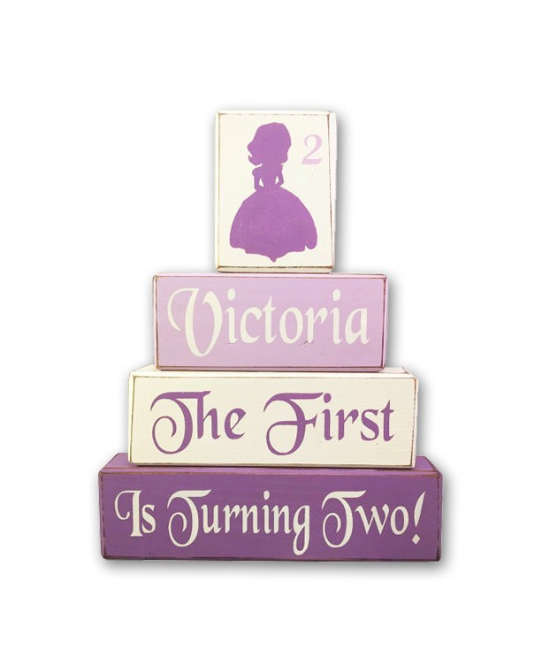 Sofia the first birthday block set disney junior princess sofia stacking block set painted wood blocks custom personalized centerpiece