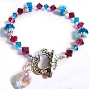 Crystal Heart Charm Bracelet, Capri Blue Fuchsia Bracelet, Sterling Silver Bracelet, Heart Toggle, Heart Charm, Colorful Bracelet, For Her