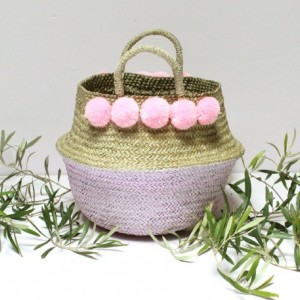 Pink Pom Poms Double Woven Sea Grass Belly Basket Panier Boule Storage Nursery Beach Picnic Toy Laundry, Dipped Belly Basket