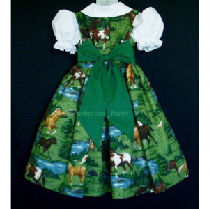 NEW Handmade Horses/Ponies in Meadow Green Dress Custom Sz 12M-14Yrs