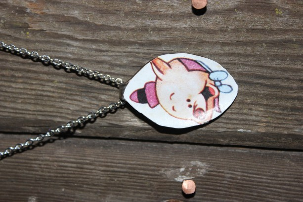 "OOAK "" This little Piggie"" charm and necklace"